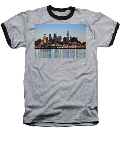 Philly Sunset Baseball T-Shirt by Jennifer Ancker