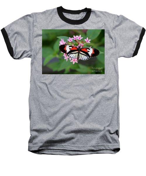 Piano Key Butterfly On Pink Penta Baseball T-Shirt