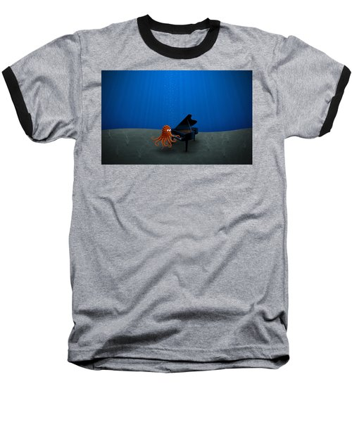 Piano Playing Octopus Baseball T-Shirt