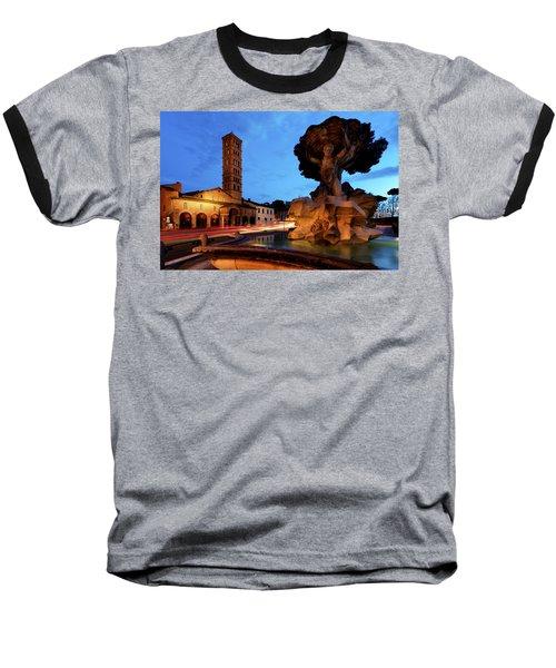 Piazza Della Bocca Della Verita' Baseball T-Shirt