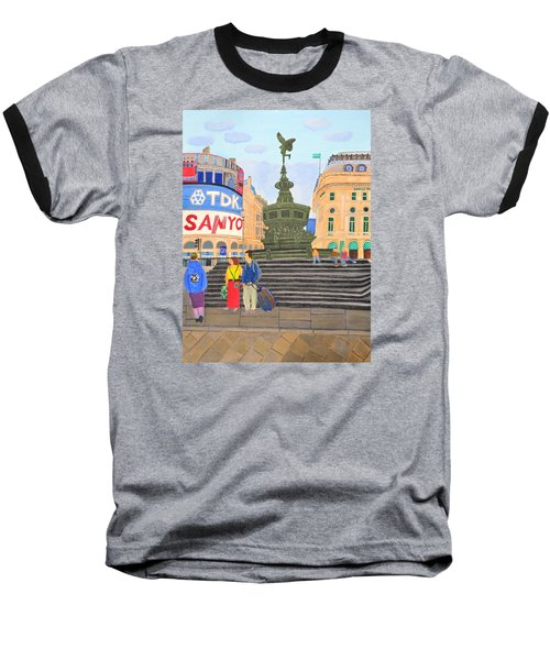 Baseball T-Shirt featuring the painting London- Piccadilly Circus by Magdalena Frohnsdorff