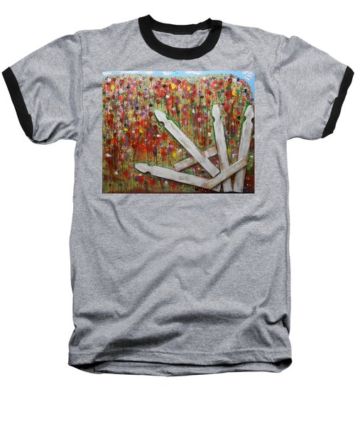 Picket Fence Flower Garden Baseball T-Shirt