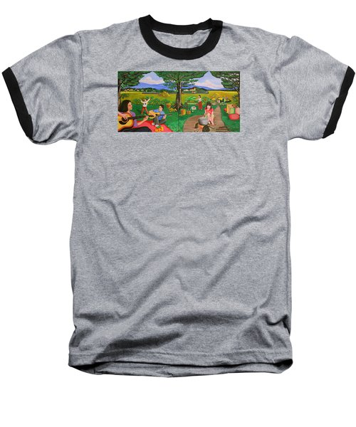 Picnic With The Farmers And Playing Melodies Under The Shade Of Trees Baseball T-Shirt by Lorna Maza