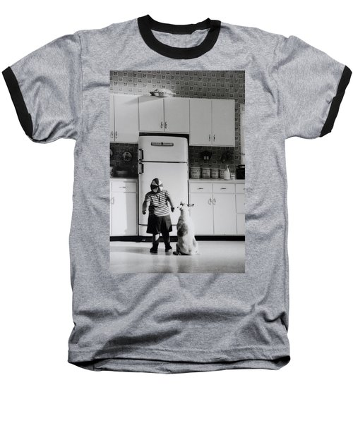 Pie In The Sky In Black And White Baseball T-Shirt