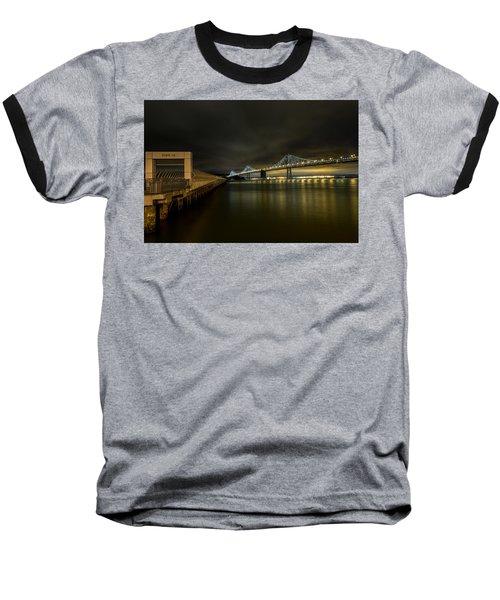 Pier 14 And Bay Bridge At Night Baseball T-Shirt