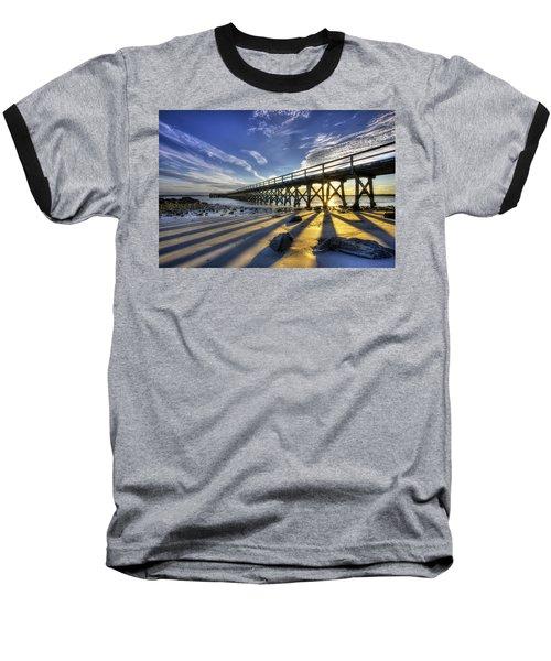 Pier At Sunset Baseball T-Shirt