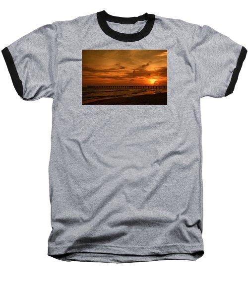 Pier At Sunset Baseball T-Shirt by Sandy Keeton