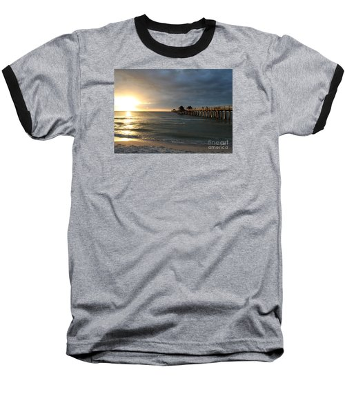 Pier Sunset Naples Baseball T-Shirt