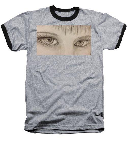 Baseball T-Shirt featuring the drawing Piercing Eyes by Bozena Zajaczkowska