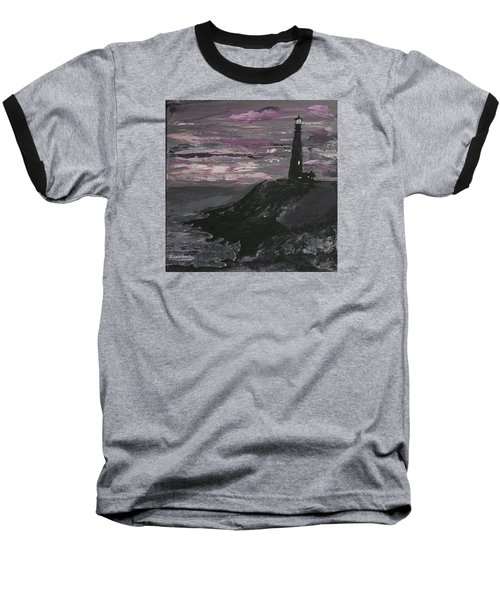 Pigeon Lighthouse Impasto Sunset Monochromatic Baseball T-Shirt