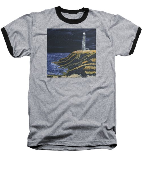 Pigeon Lighthouse Night Scumbling Complementary Colors Baseball T-Shirt by Ian Donley