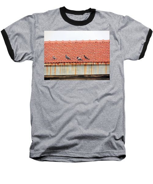 Baseball T-Shirt featuring the photograph Pigeons On Roof by Aaron Martens