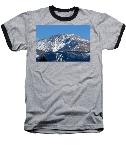 Pikes Peak Close-up Baseball T-Shirt by Marilyn Burton
