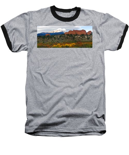 Pikes Peak Fall Pano Baseball T-Shirt