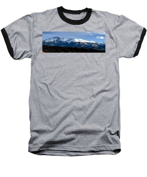Pikes Peak Panorama Baseball T-Shirt by Marilyn Burton