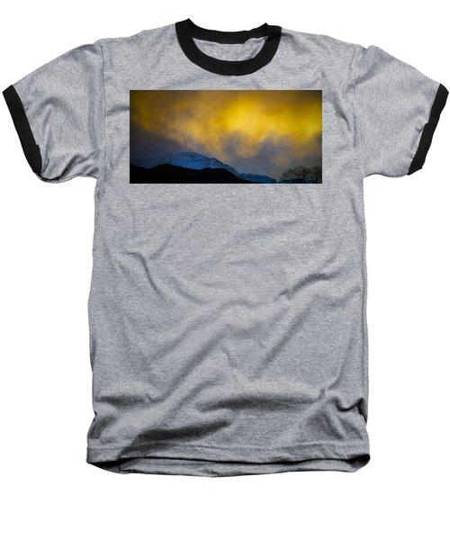 Pike's Peak Snow At Sunset Baseball T-Shirt