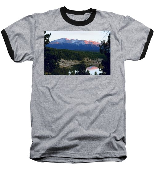Pikes Peak Sunset Baseball T-Shirt by Marilyn Burton