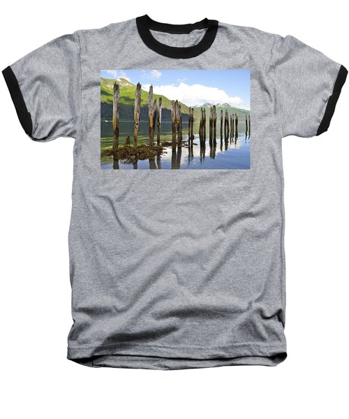 Baseball T-Shirt featuring the photograph Pilings by Cathy Mahnke