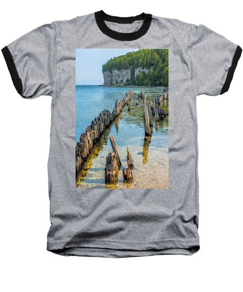 Pilings On Lake Michigan Baseball T-Shirt