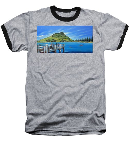 Baseball T-Shirt featuring the painting Pilot Bay Mt Maunganui 201214 by Selena Boron