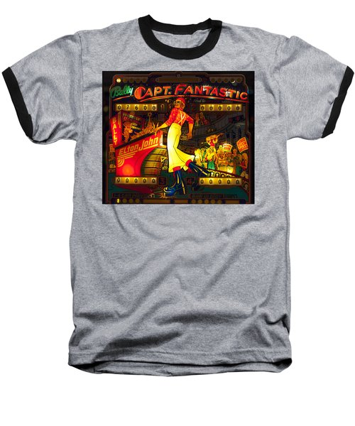 Pinball Machine Capt. Fantastic Baseball T-Shirt by Terry DeLuco