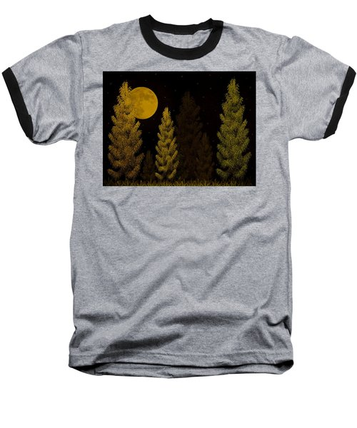 Pine Forest Moon Baseball T-Shirt