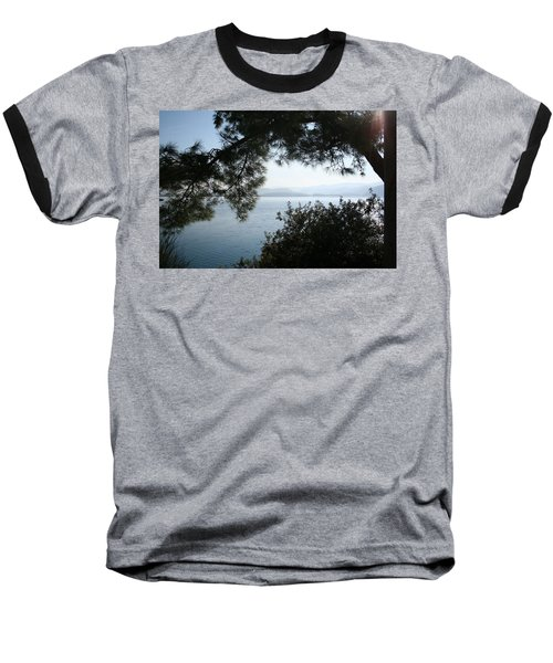 Baseball T-Shirt featuring the photograph Pine Trees Overhanging The Aegean Sea by Tracey Harrington-Simpson