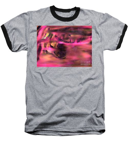 Baseball T-Shirt featuring the painting Pink Abstract Nature by Yul Olaivar