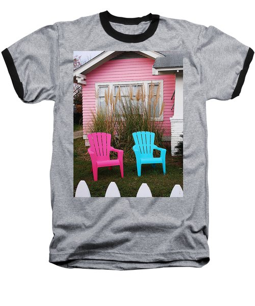 Pink And Blue Chairs By Jan Marvin Baseball T-Shirt