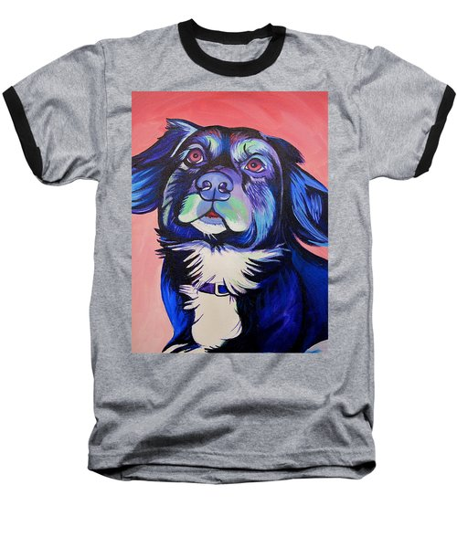 Baseball T-Shirt featuring the painting Pink And Blue Dog by Joshua Morton