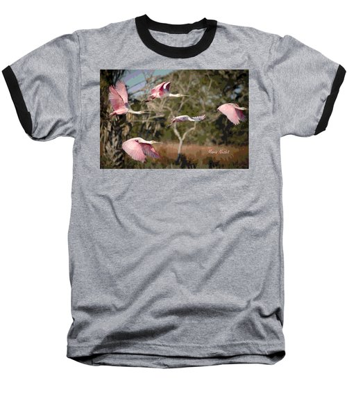Pink And Feathers Baseball T-Shirt