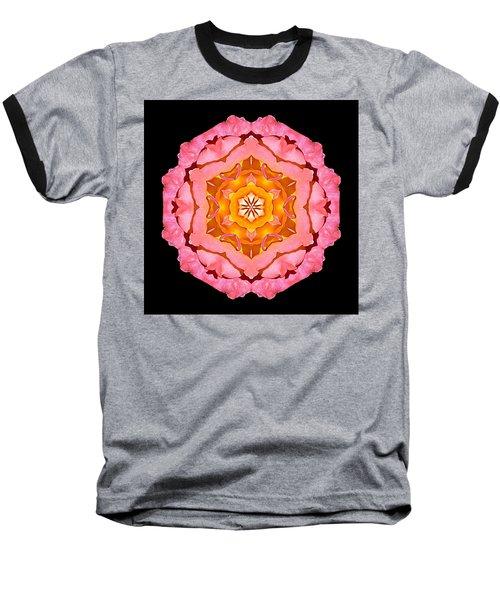 Baseball T-Shirt featuring the photograph Pink And Orange Rose I Flower Mandala by David J Bookbinder