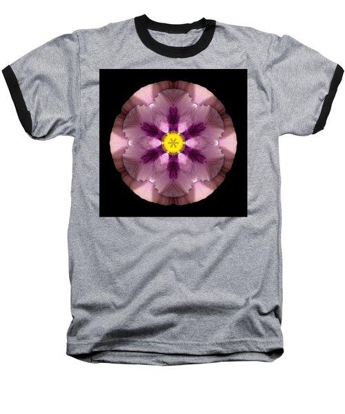 Pink And Purple Pansy Flower Mandala Baseball T-Shirt
