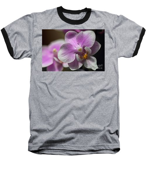 Pink And White Orchid Baseball T-Shirt
