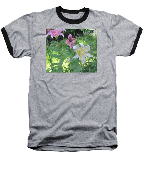 Pink And White Stargazer Lilies Baseball T-Shirt