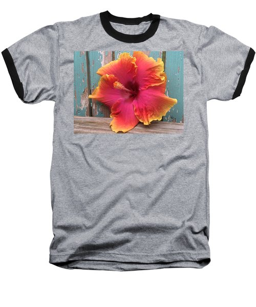 Tropical Pink And Yellow Hibiscus  Baseball T-Shirt