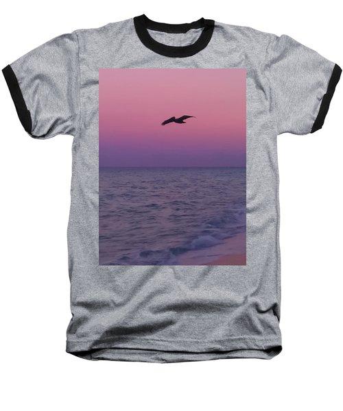 Pink Beach Sunset Baseball T-Shirt