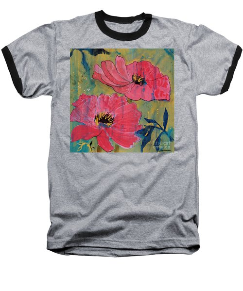 Baseball T-Shirt featuring the painting Pink Blossoms by Robin Maria Pedrero