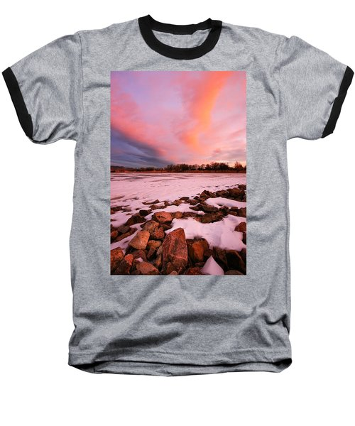 Pink Clouds Over Memorial Park Baseball T-Shirt by Ronda Kimbrow