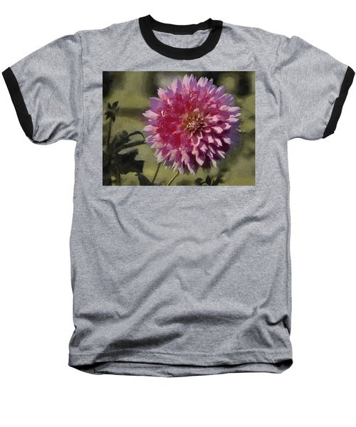 Baseball T-Shirt featuring the painting Pink Dahlia by Jeff Kolker