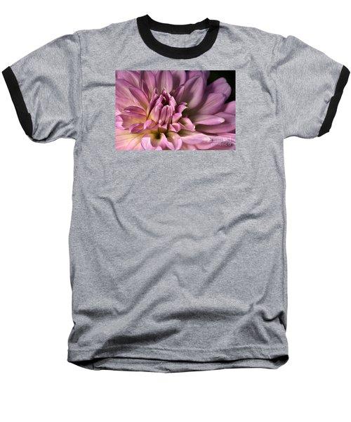Pink Dahlia's Dream Baseball T-Shirt by Joy Watson