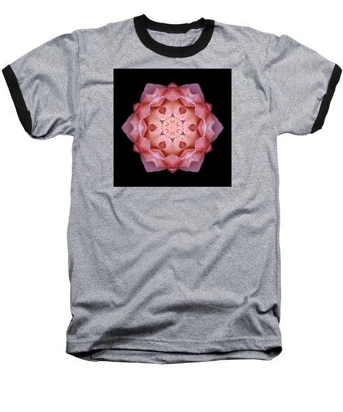 Pink Fall Rose Flower Mandala Baseball T-Shirt