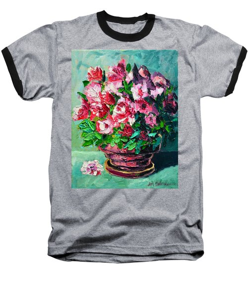 Baseball T-Shirt featuring the painting Pink Flowers by Ana Maria Edulescu