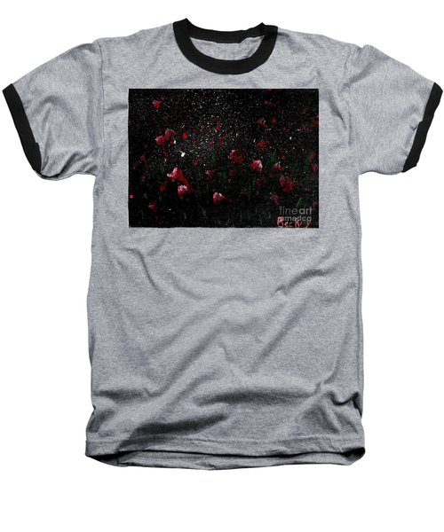 Baseball T-Shirt featuring the painting Pink Flowers In Twilight by Becky Lupe