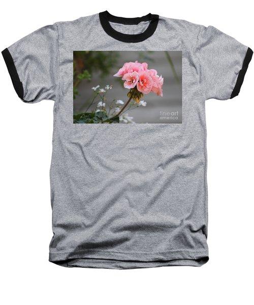 Pink Geranium Baseball T-Shirt