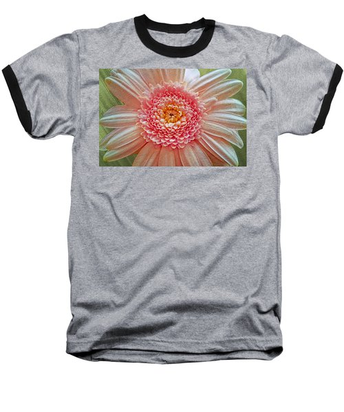 Pink Gerbera Textured Baseball T-Shirt