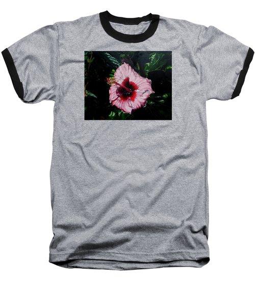 Pink Hibiscus Baseball T-Shirt by Raymond Perez
