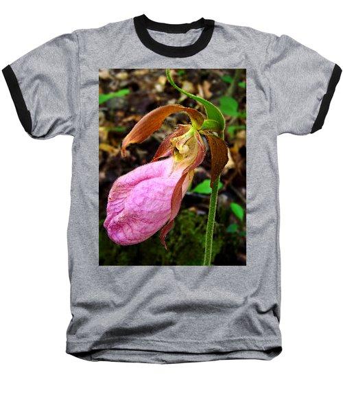 Pink Ladyslipper Orchid Baseball T-Shirt