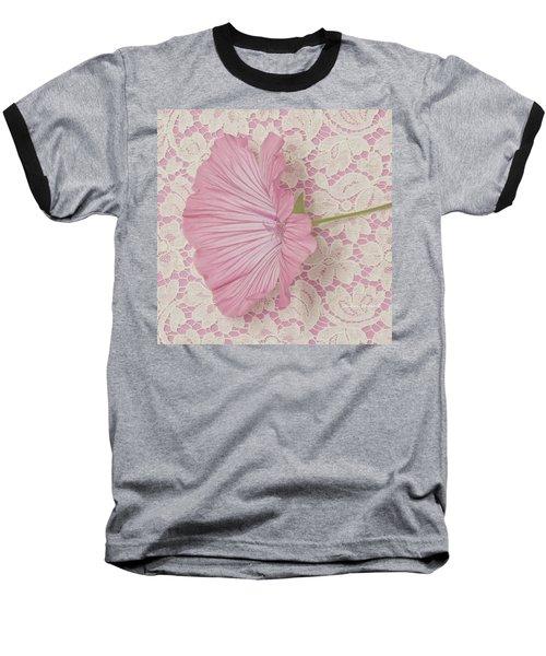Pink Lavatera Blossom On Vintage Lace - Macro Baseball T-Shirt