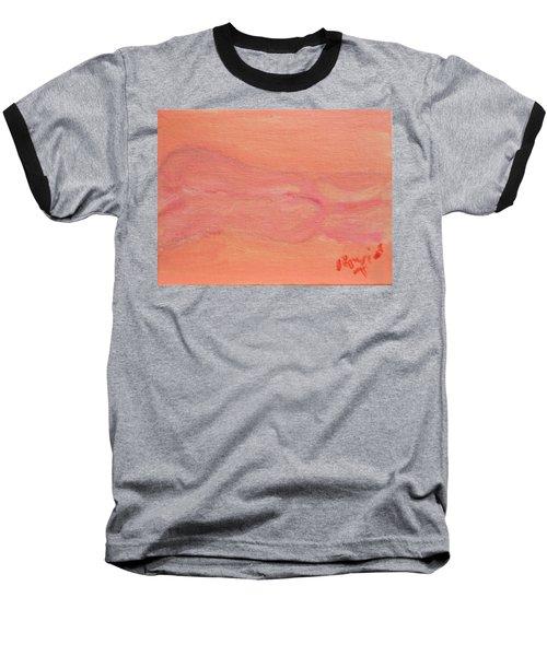 Pink Nude On Orange Baseball T-Shirt by David Trotter